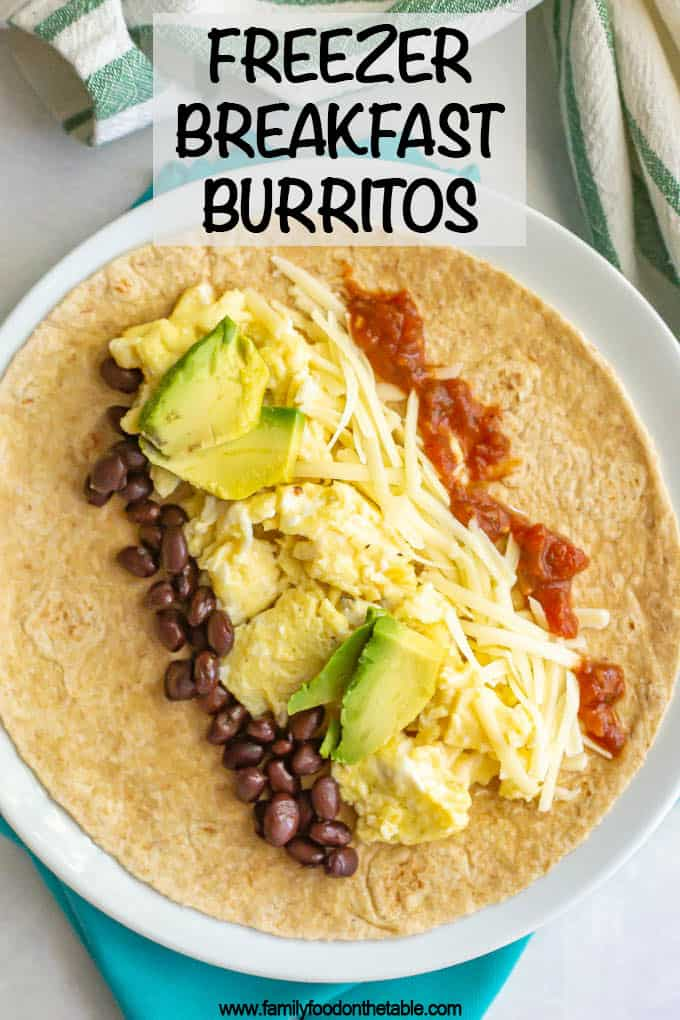 Tortilla with scrambled eggs, beans, cheese, salsa and avocado on a white plate with a text box on top