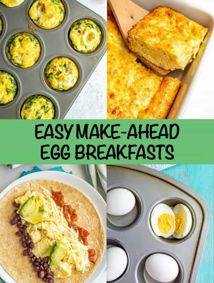A collage of 4 breakfast recipes with eggs