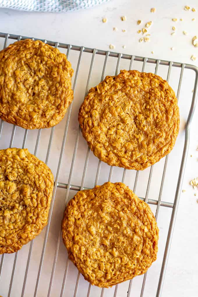 Peanut butter oatmeal cookies on a cooling rack