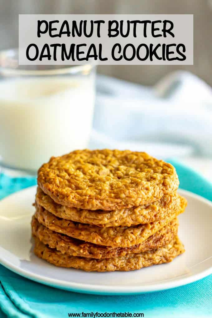 A stack of peanut butter oatmeal cookies on a white plate with a text overlay on the photo