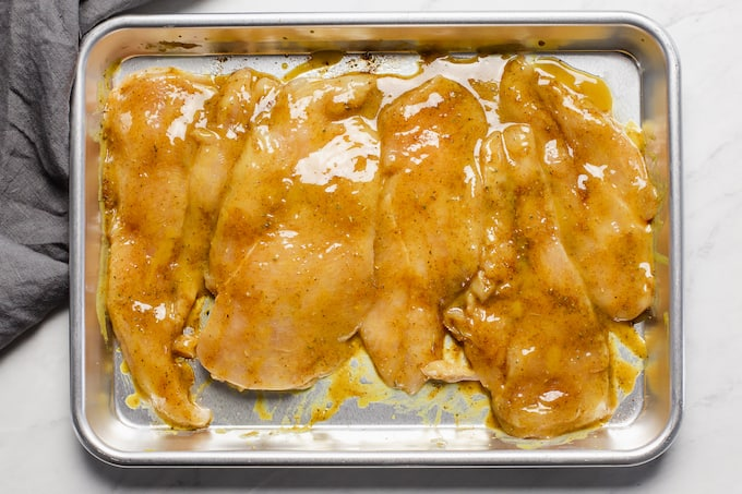 Honey mustard chicken on a sheet pan