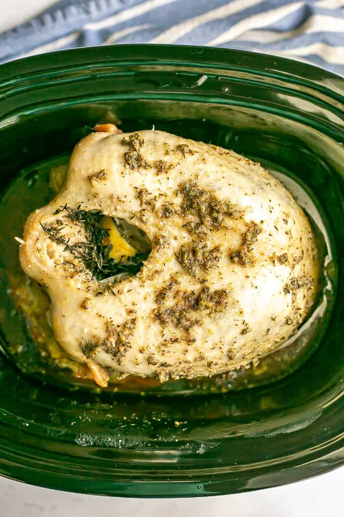 An herb-rubbed bone in turkey breast after being cooked in a slow cooker