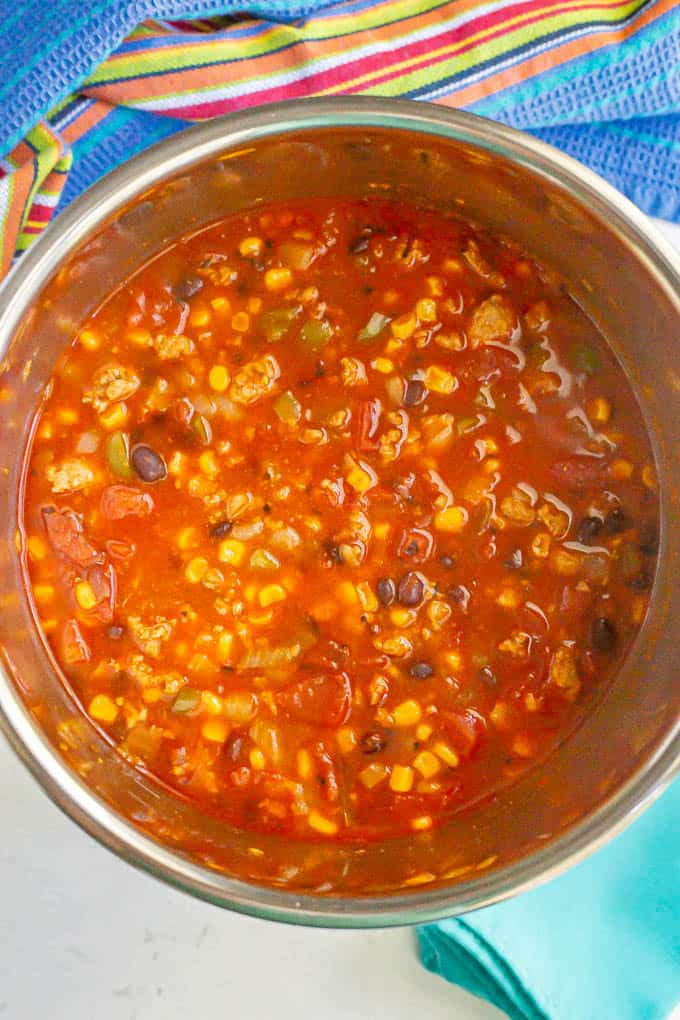 Southwestern turkey chili with black beans and corn in an Instant Pot after cooking