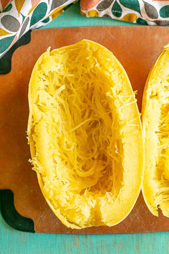 Half of a cooked spaghetti squash before the strands are pulled