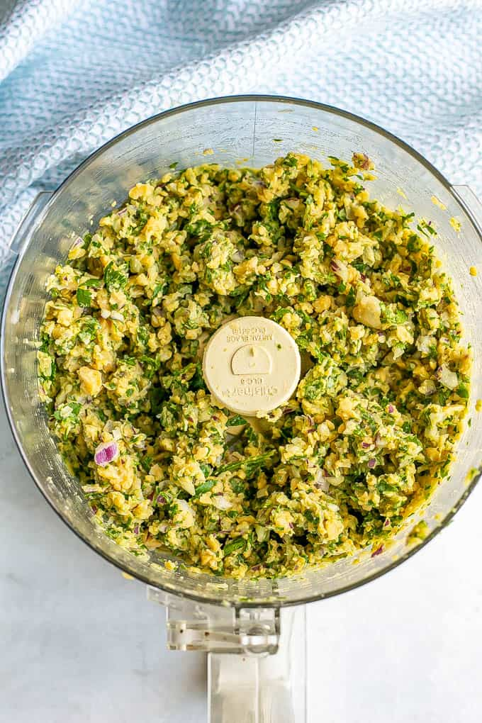 Falafel mixture in a food processor before being formed into patties