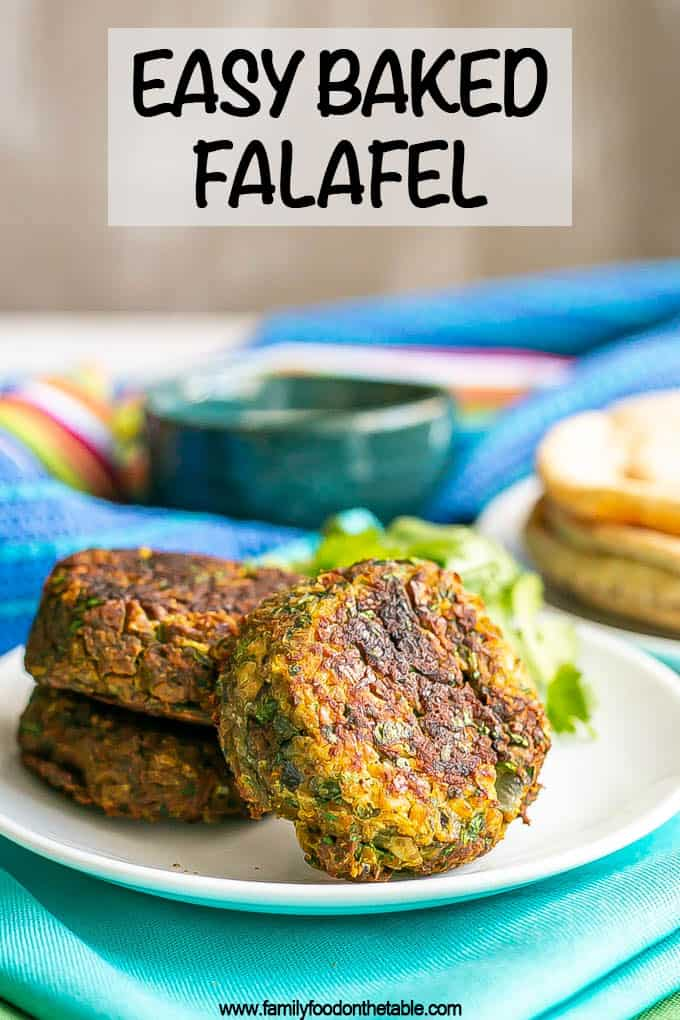 A trio of baked falafel patties on a white plate with a text overlay on the photo