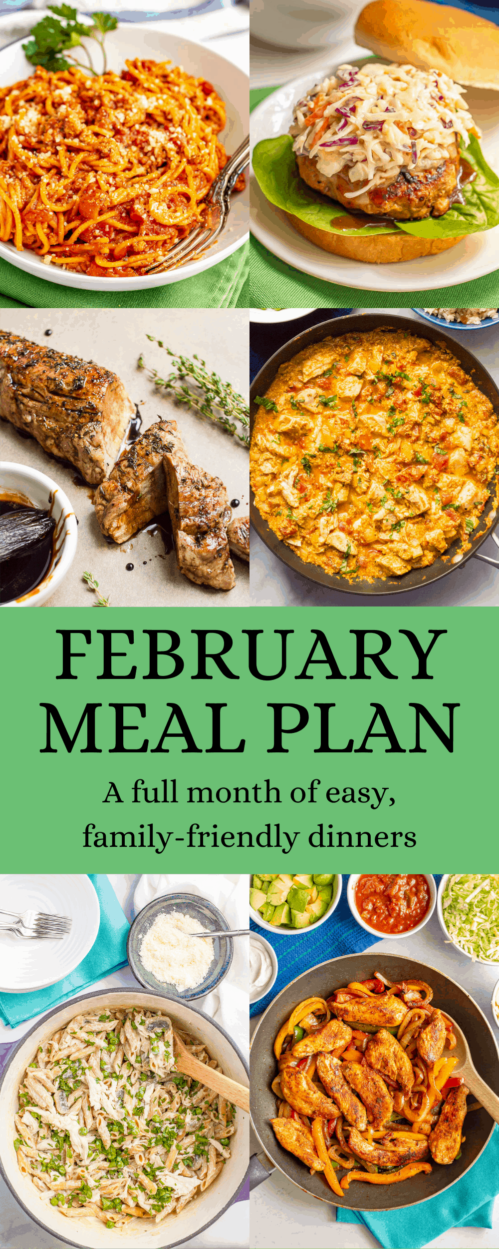 A collage of easy dinner ideas for February with a green text block