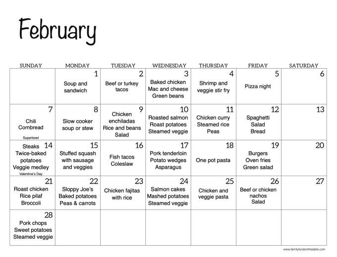 A monthly calendar for February with family dinner ideas for each day