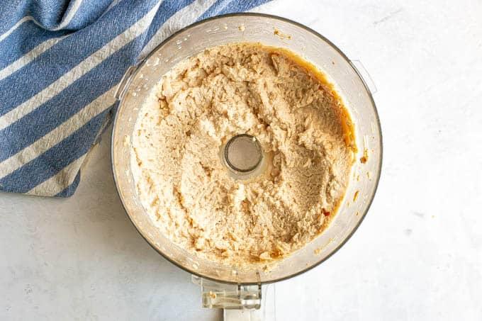 Baby food turkey puree in a food processor