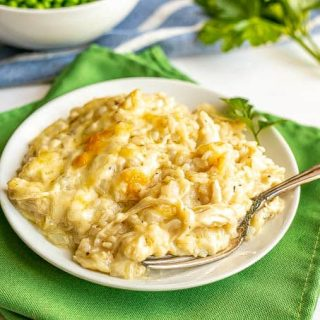 A cheesy chicken and rice mixture served on a small white dinner plate with a fork alongside