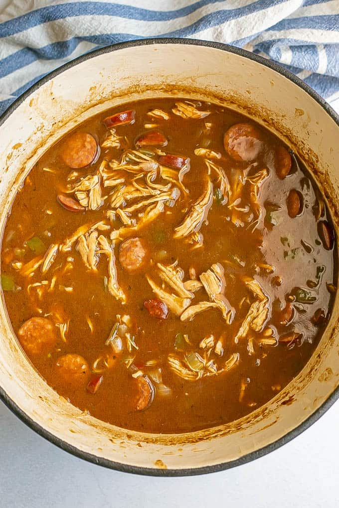 A large pot of gumbo after it's finished cooking