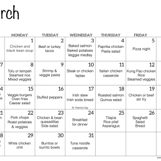 A monthly calendar for March with family dinner ideas for each day