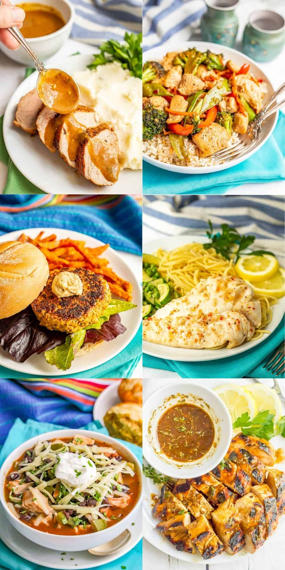 A collage of easy, healthy, family friendly dinner ideas