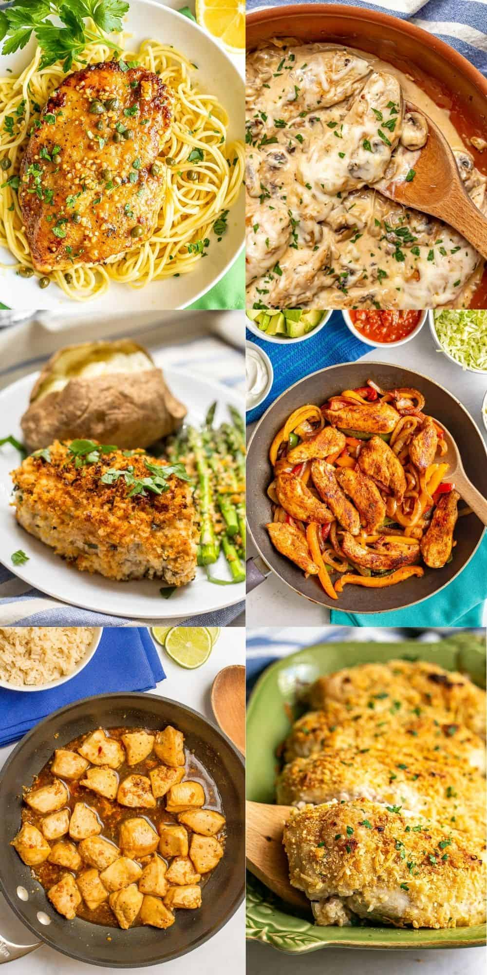 A rectangular collage of easy family-friendly dinner photos, including chicken fajitas, baked pork chops and cheesy baked chicken