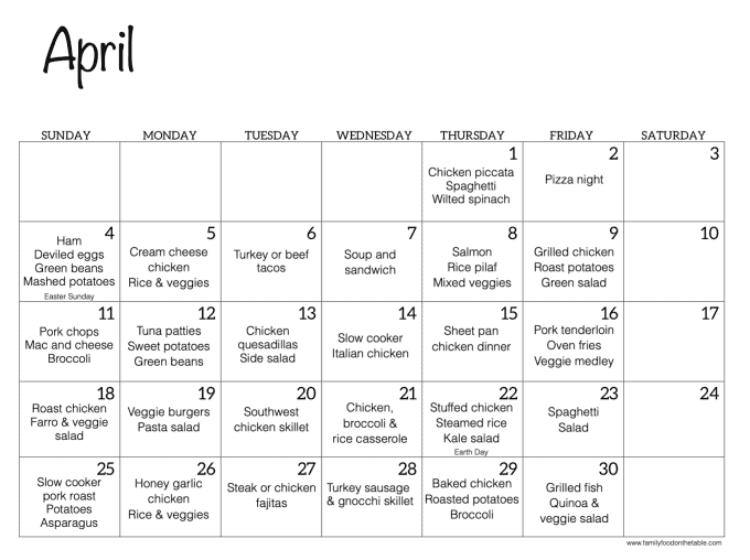 An April calendar with dinner recipe ideas for each day of the month
