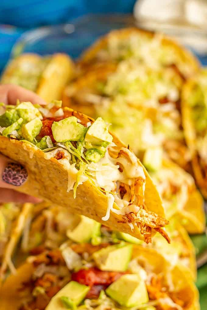 A hand holding up a baked shredded chicken crispy taco with salsa and avocado on top