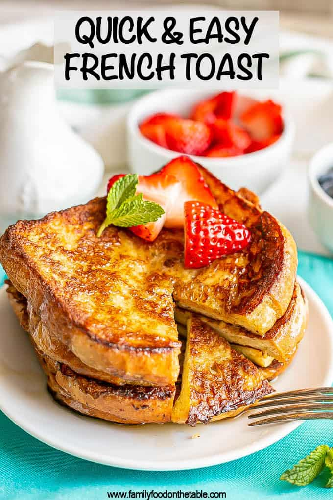 Stacked slices of French toast on a plate with berries on top and a small bite cut out with a text overlay on the image