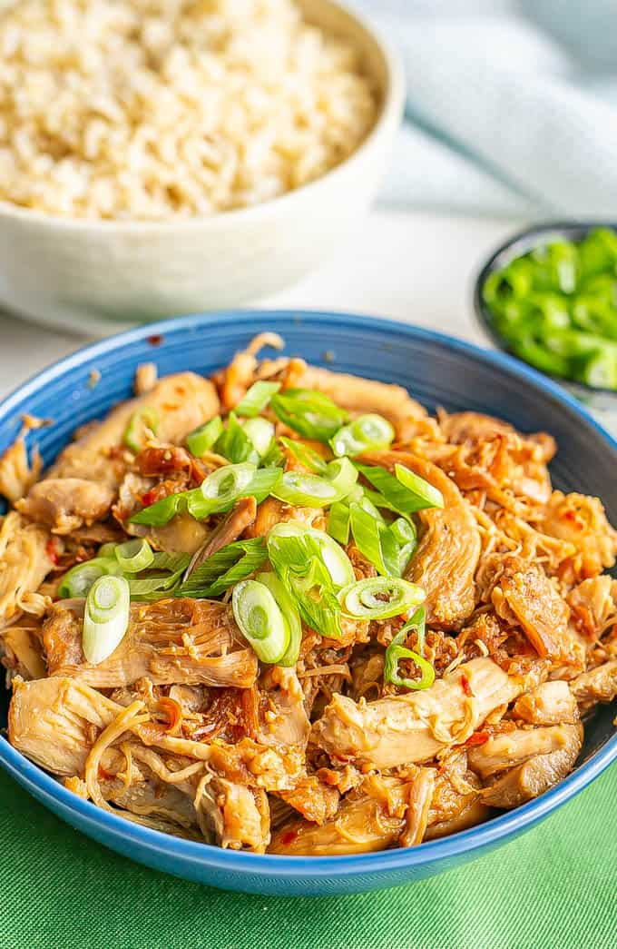 A blue bowl with shredded honey garlic chicken topped with sliced green onions