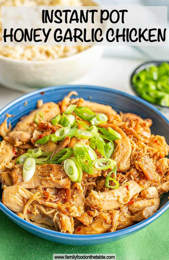 A blue bowl with shredded honey garlic chicken topped with sliced green onions with a text overlay on the photo