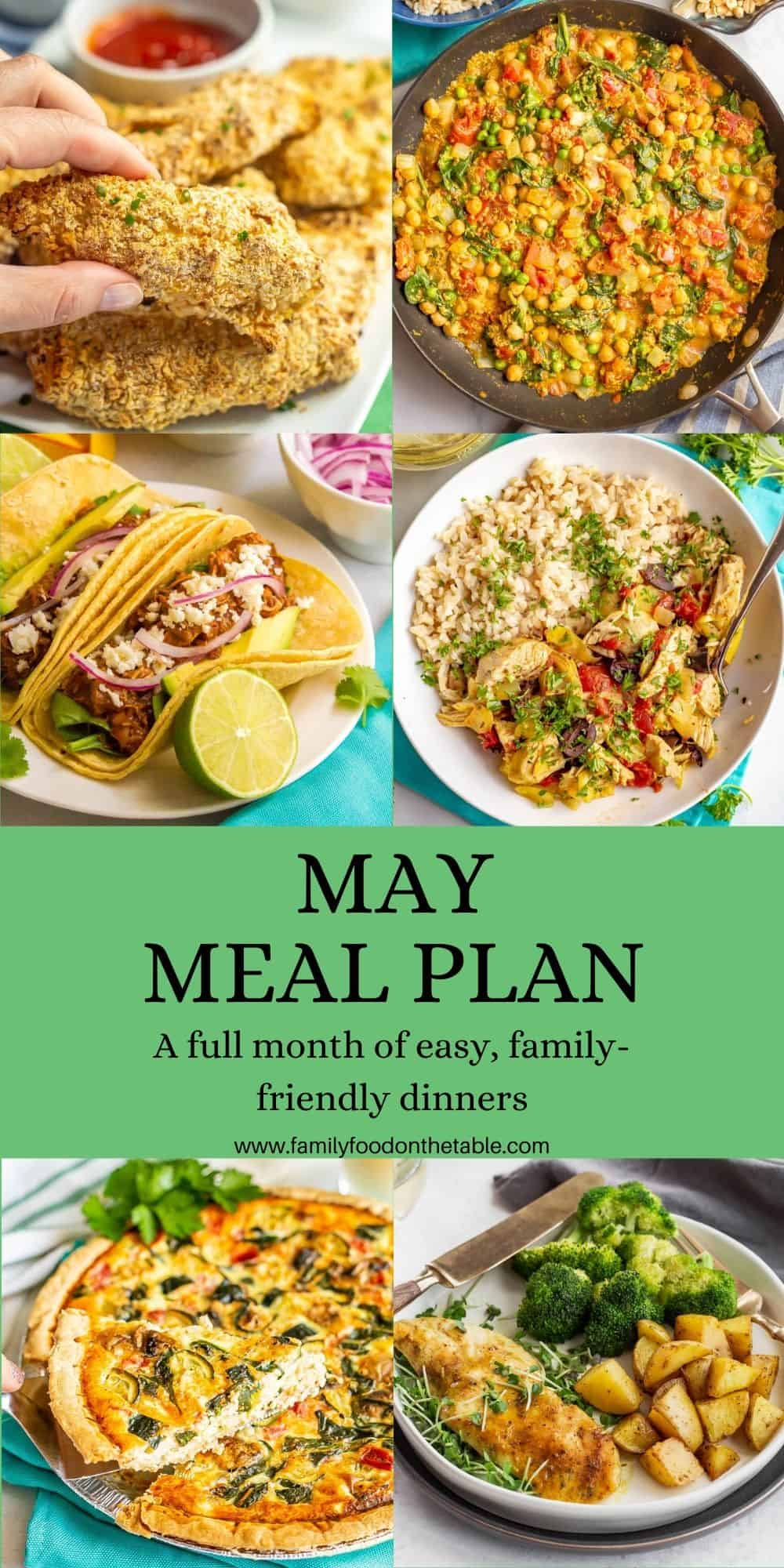 A collage of dinner photos with a text block for a May meal plan