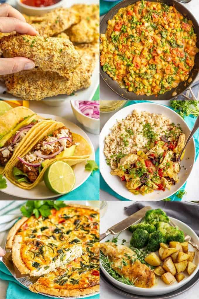 A collage of six different family dinner ideas