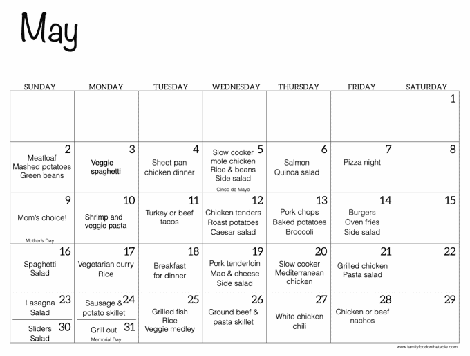 A May calendar filled out with family dinner ideas for each night