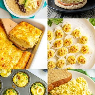A collage of six food photos featuring eggs