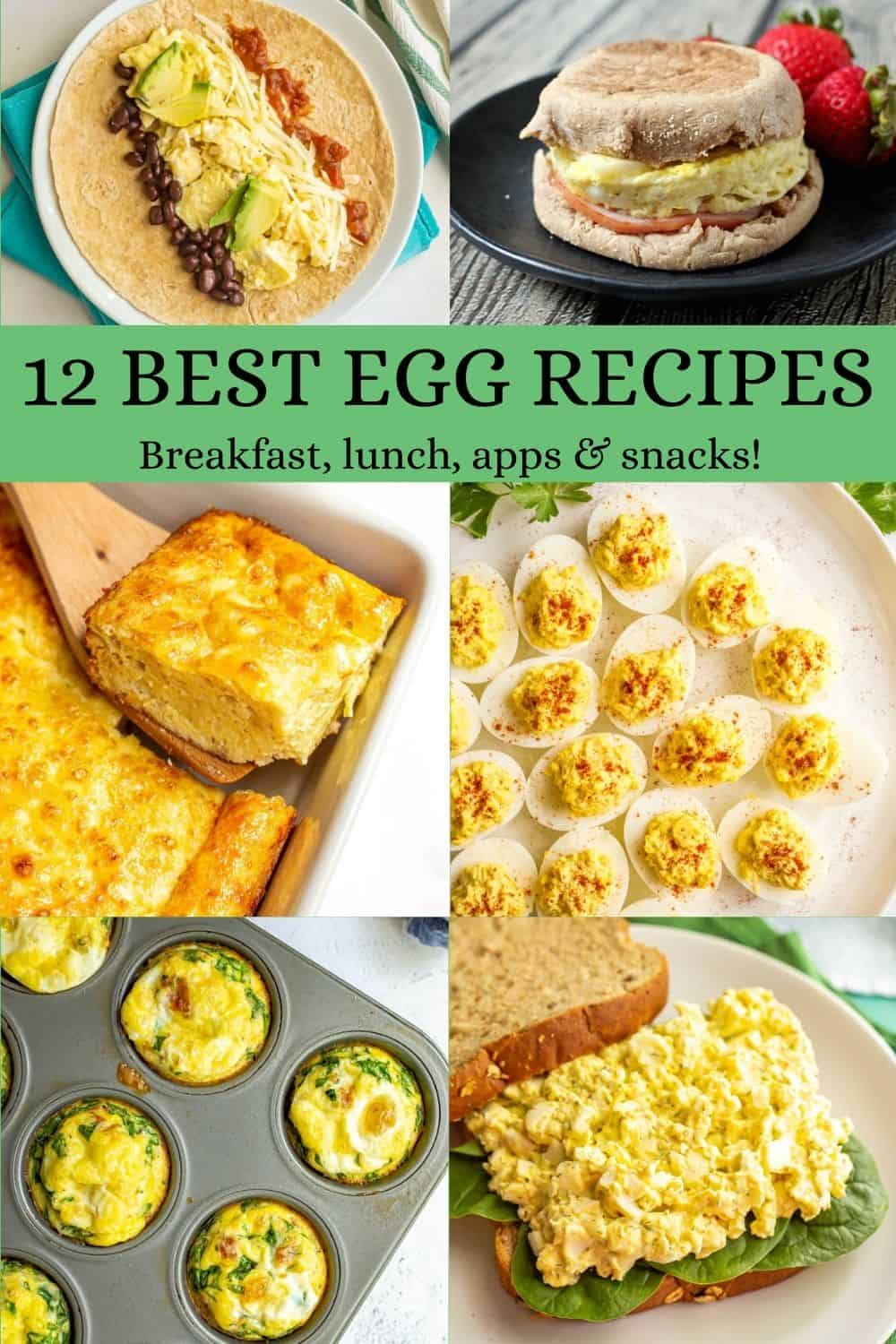 A collage of six food photos featuring eggs and a text block in the middle