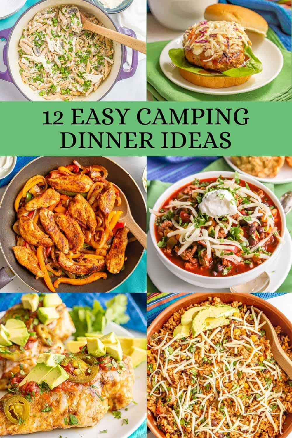 A collage of easy dinner ideas for camping with a text block in the image