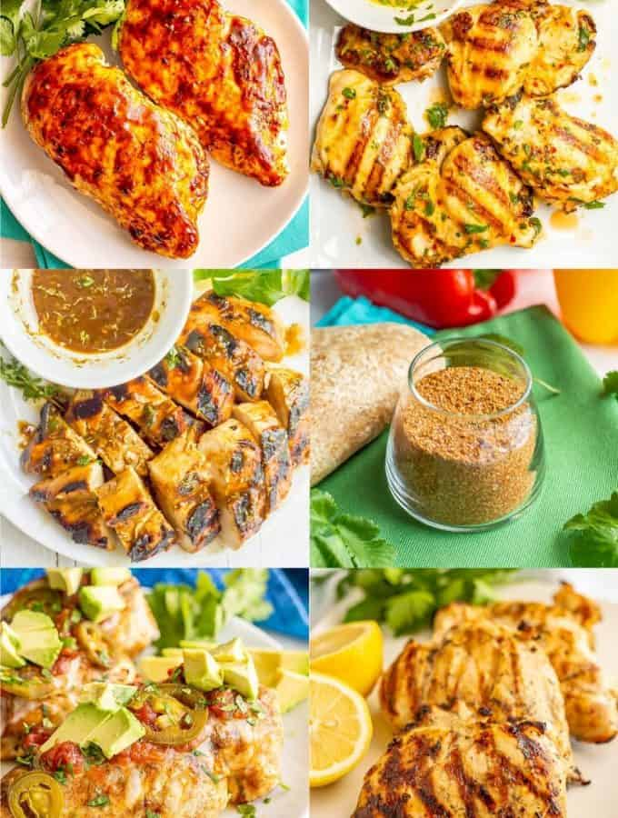 A collage of 6 photos of grilled chicken with marinades or rubs