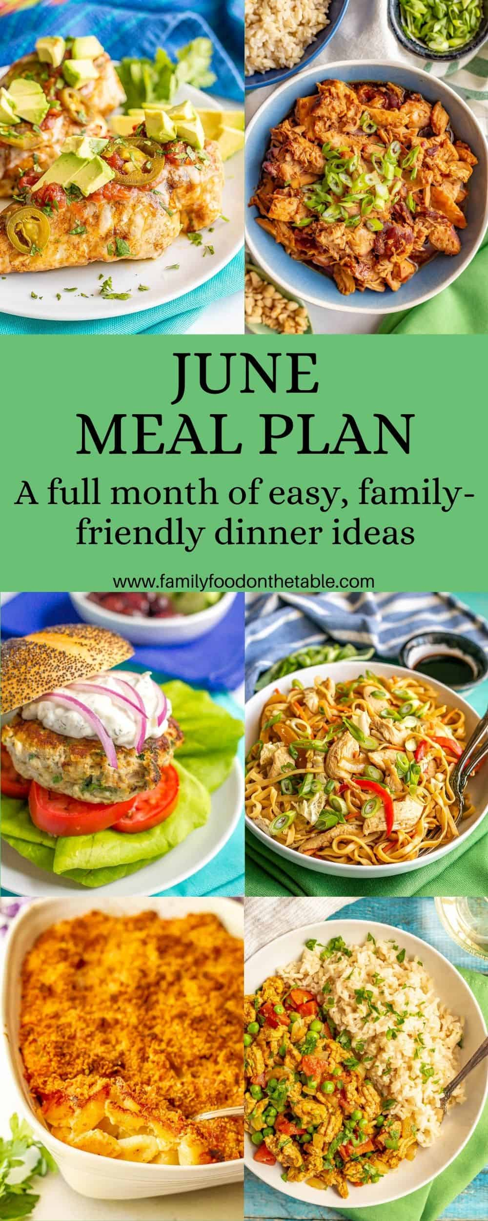A collage of easy family friendly dinners for dinner inspiration with a text block in the middle