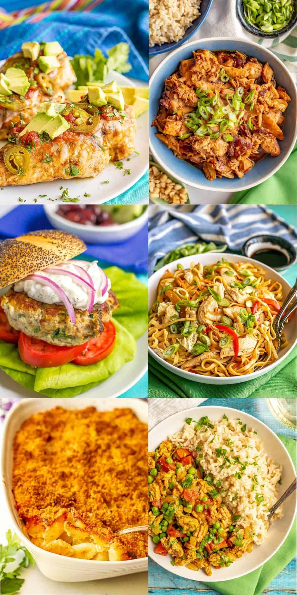 A collage of easy family friendly dinners for dinner inspiration
