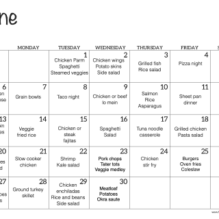 A June meal plan calendar with dinner ideas for each day of the month