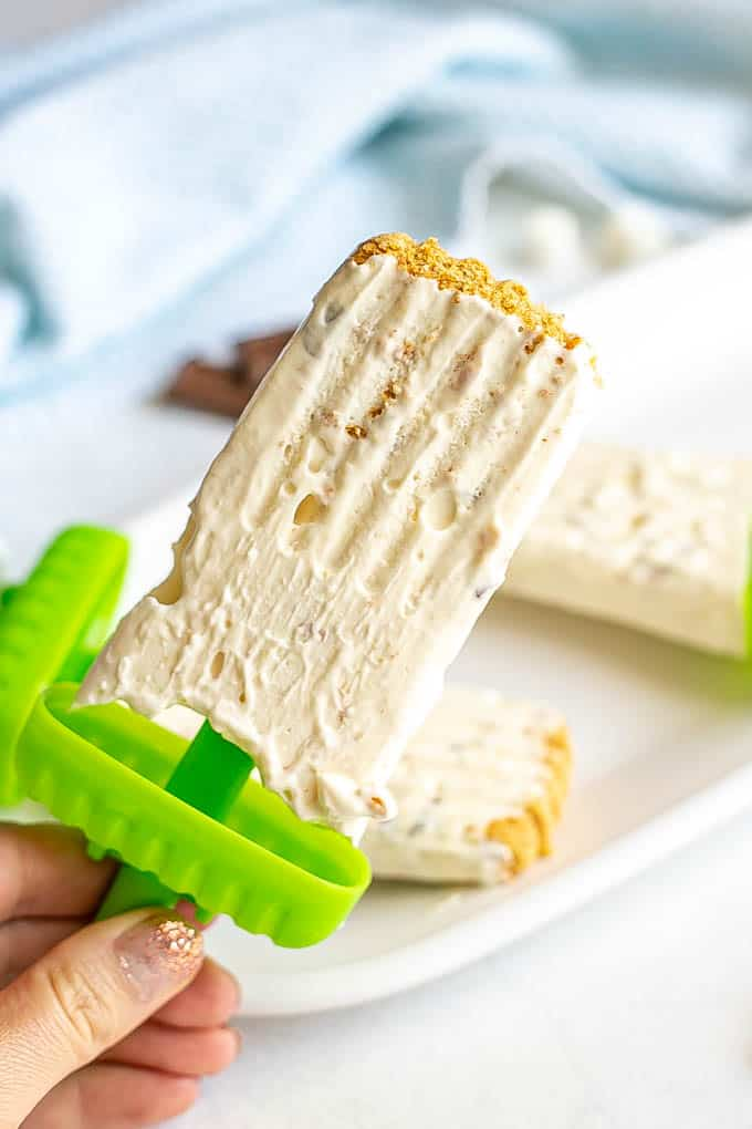 A hand holding a homemade s'mores popsicle with graham cracker crumbs on the top