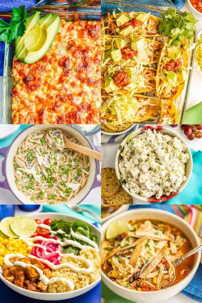 A collage of six photos of recipes made using leftover cooked, shredded chicken