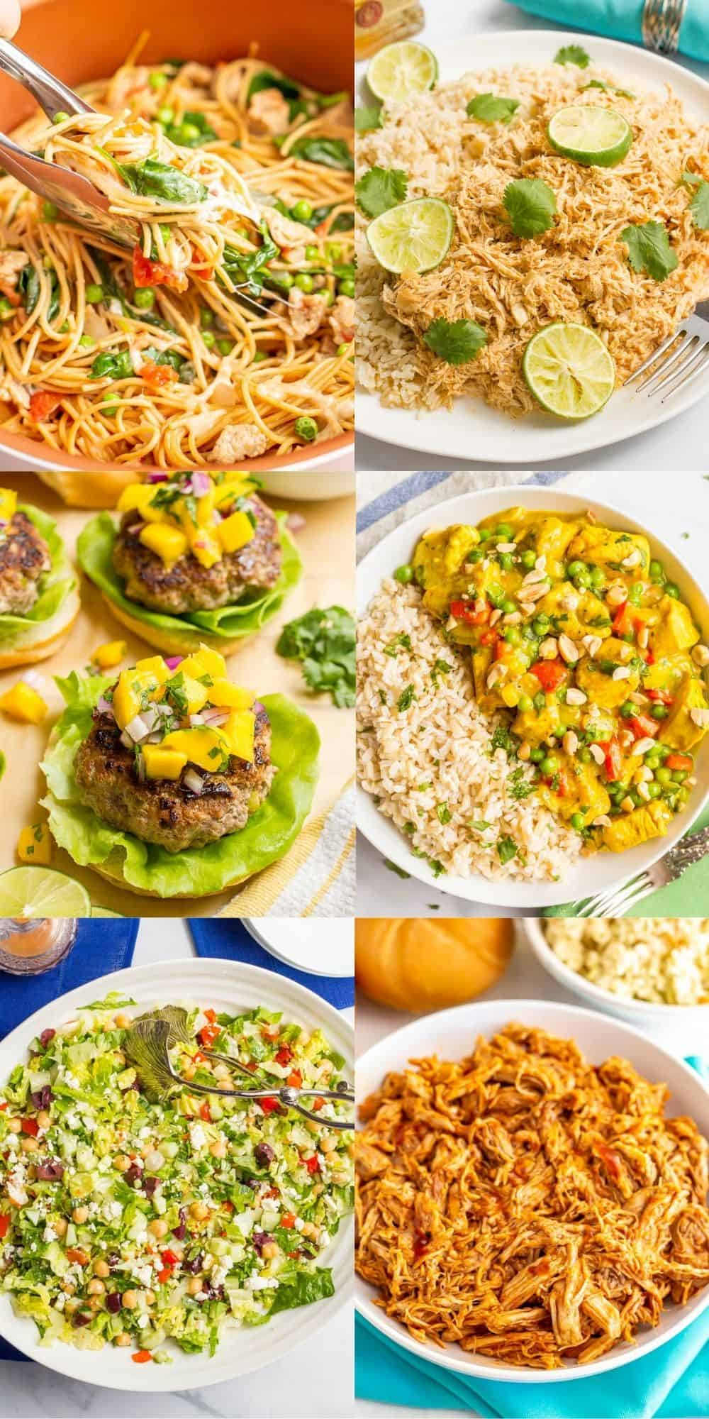 A collage of 6 photos of easy dinner ideas for summertime