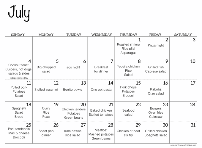 A July calendar with ideas for easy dinners for each day of the month