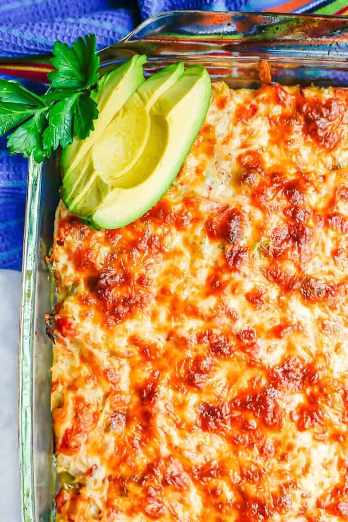 Close up of cheesy King Ranch casserole with chicken and tortillas after being baked with cilantro and avocado slices on top