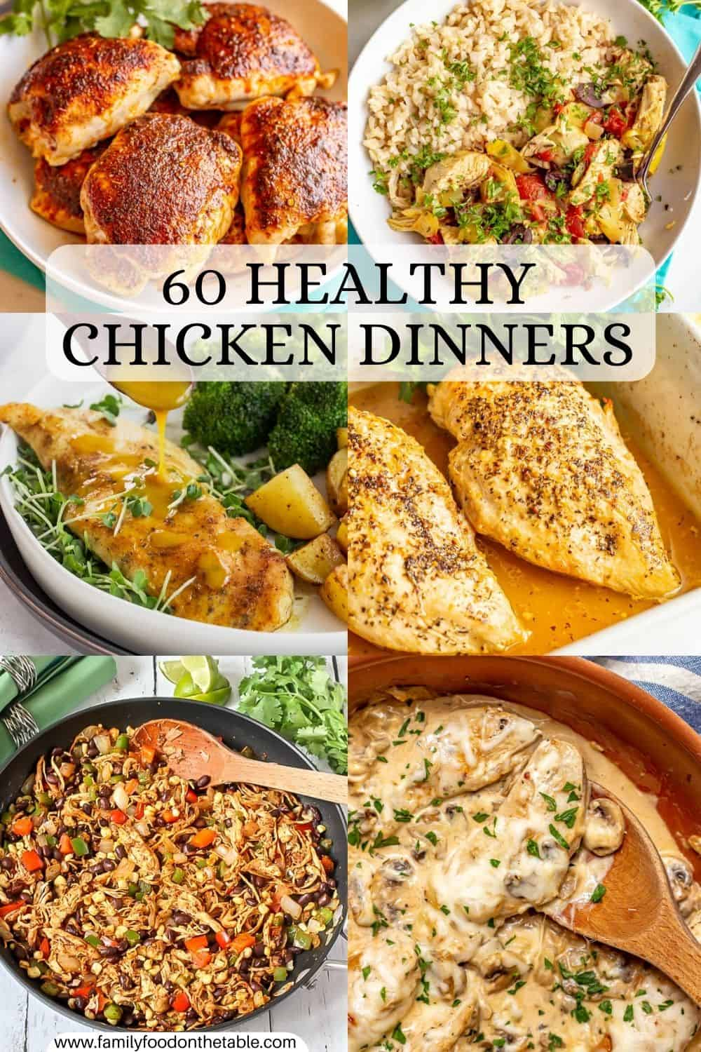 A collage of six healthy chicken dinners with a text overlay on the photo