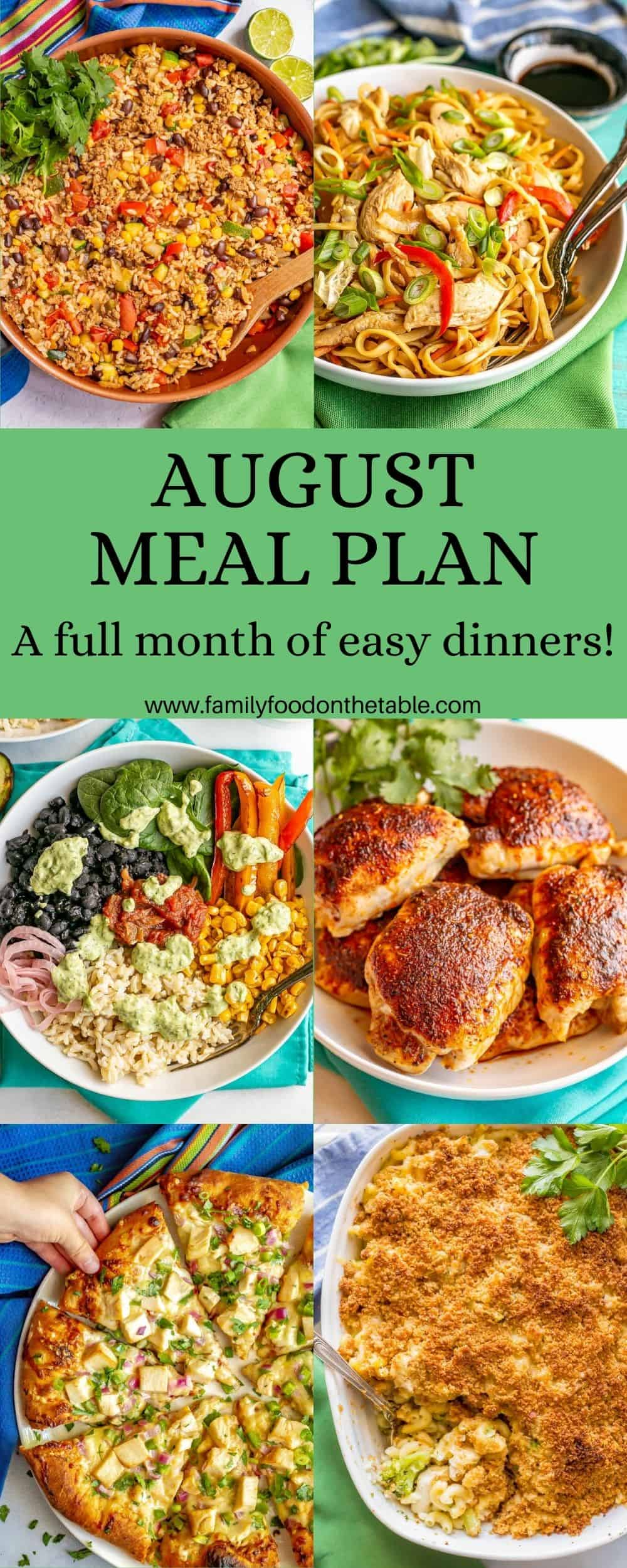 A collage of six dinner photos with a text box in the middle reading August meal plan