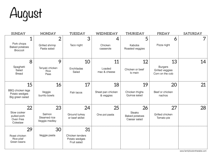 A photo of an August calendar with dinner ideas for each night of the month, with Saturdays blank