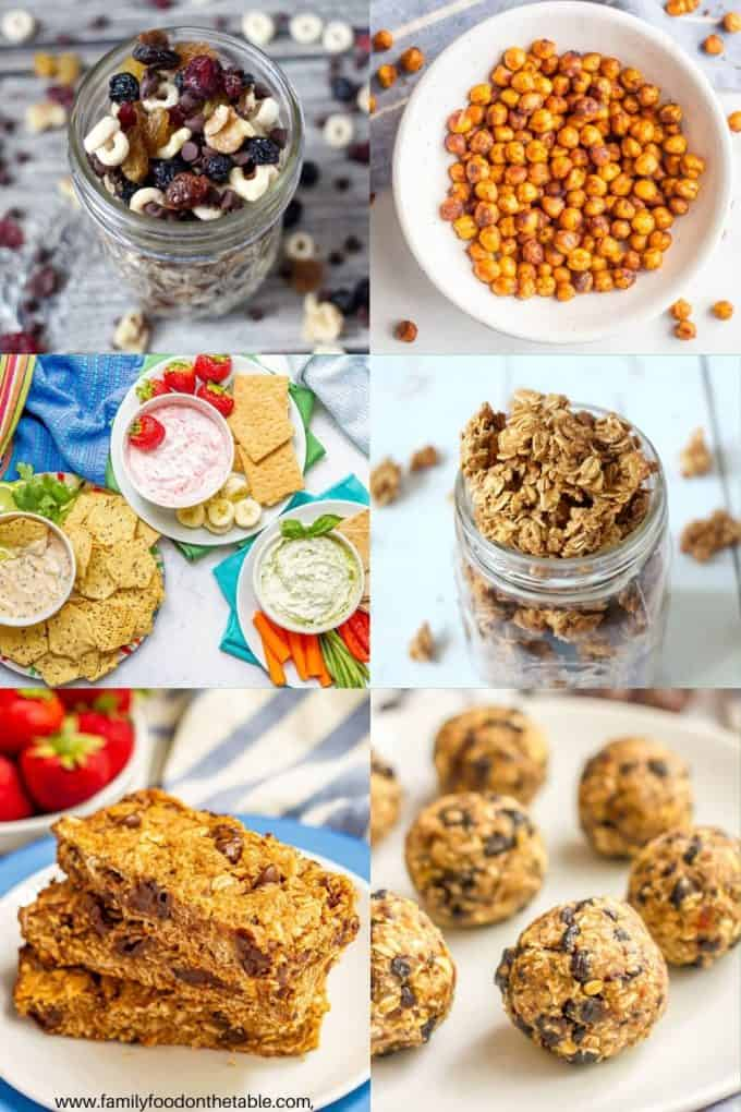 Collage of six healthy snacks that are portable