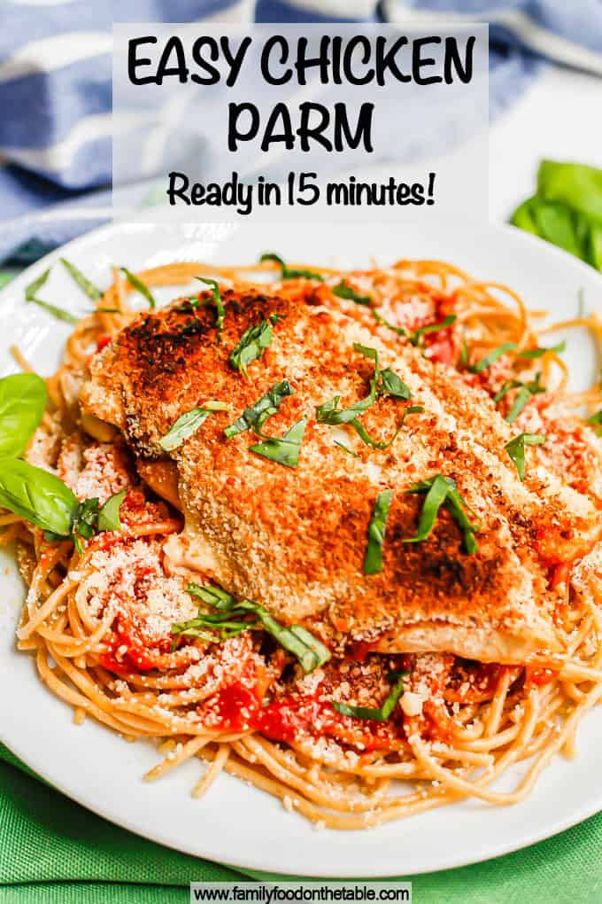 A broiled and browned chicken Parm cutlet served over spaghetti with basil sprinkled on top and a text overlay on the photo