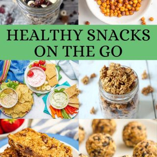 Collage of six healthy snack photos with a text block on the collage