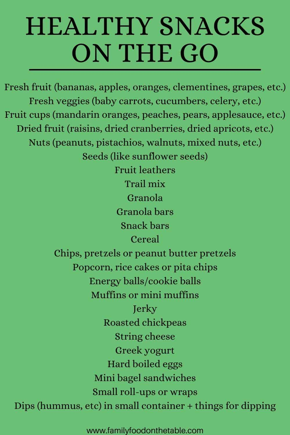 A green image with a list of healthy snacks on the go