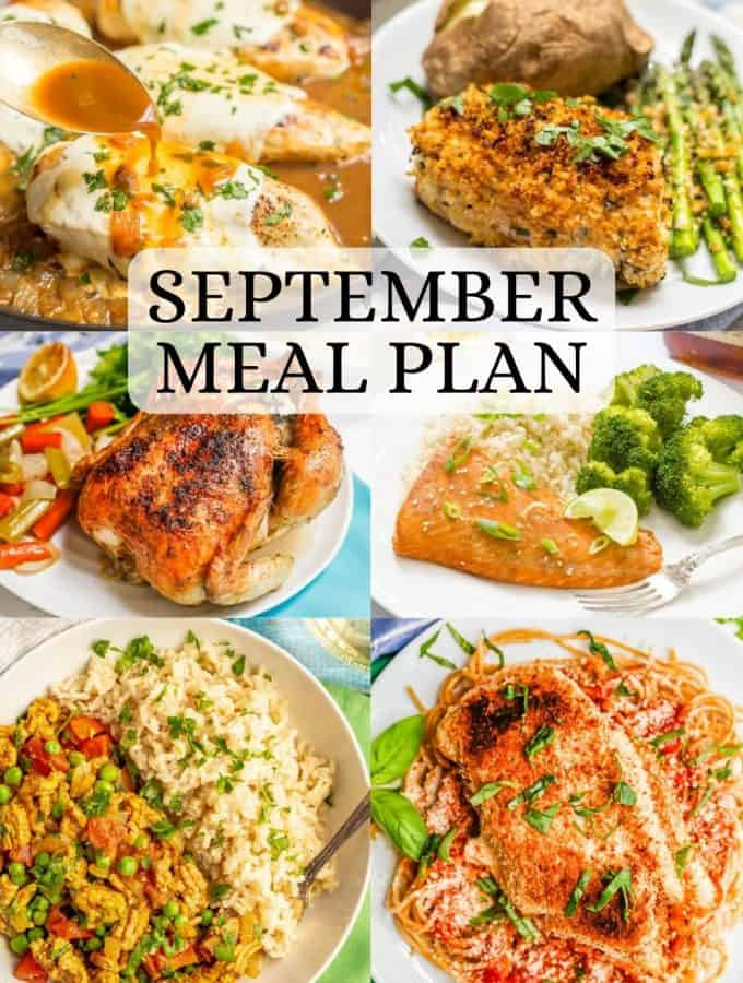 A collage of 6 dinner ideas for a September meal plan with a text overlay on the collage