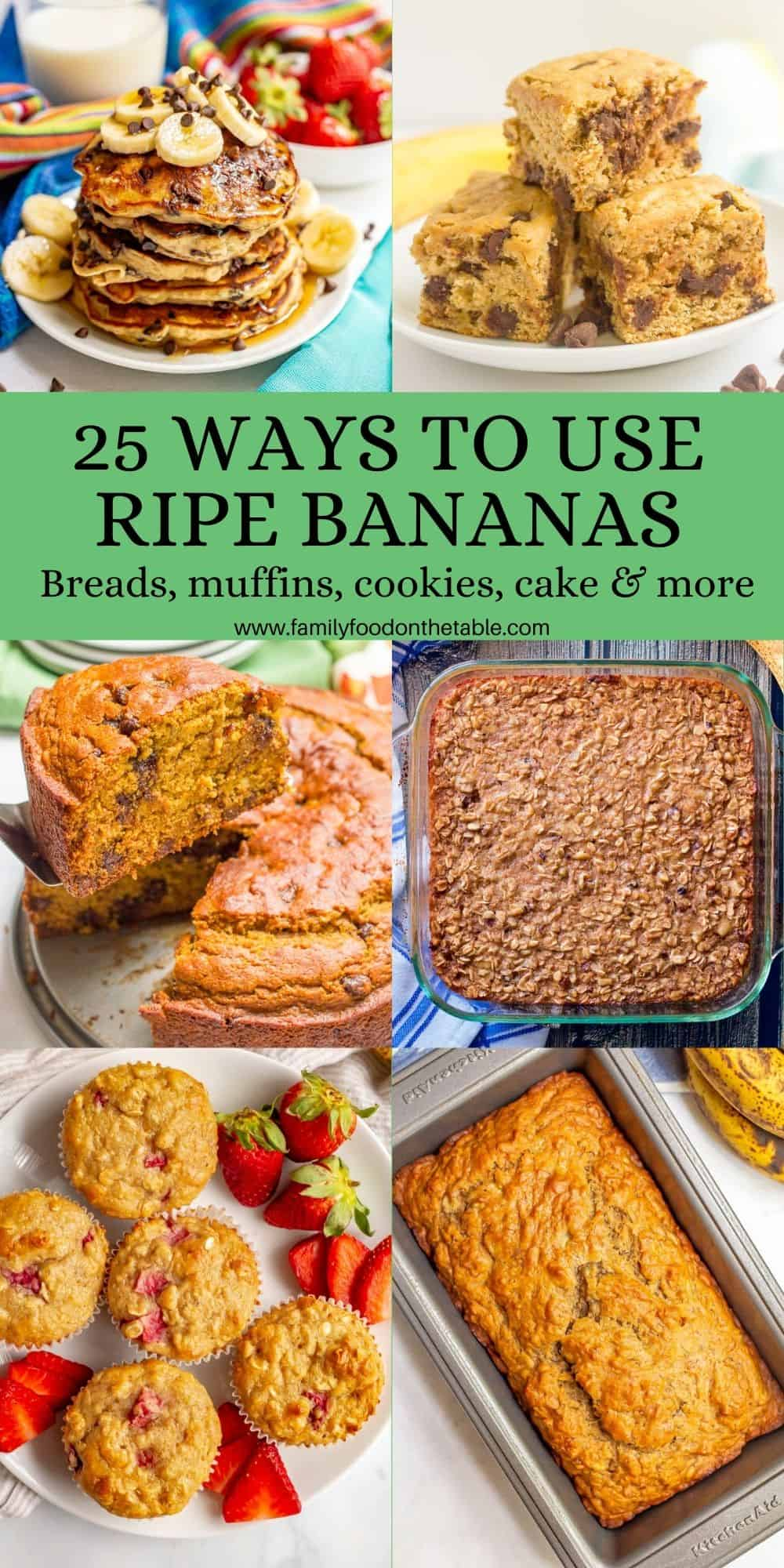 A collage of 6 photos of baked goods using ripe bananas with a text box in the middle