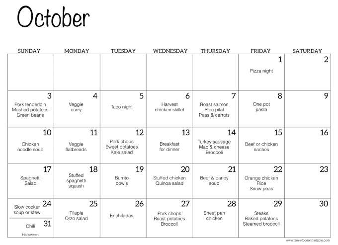 Calendar screen shot of October with family dinner ideas for each day of the month