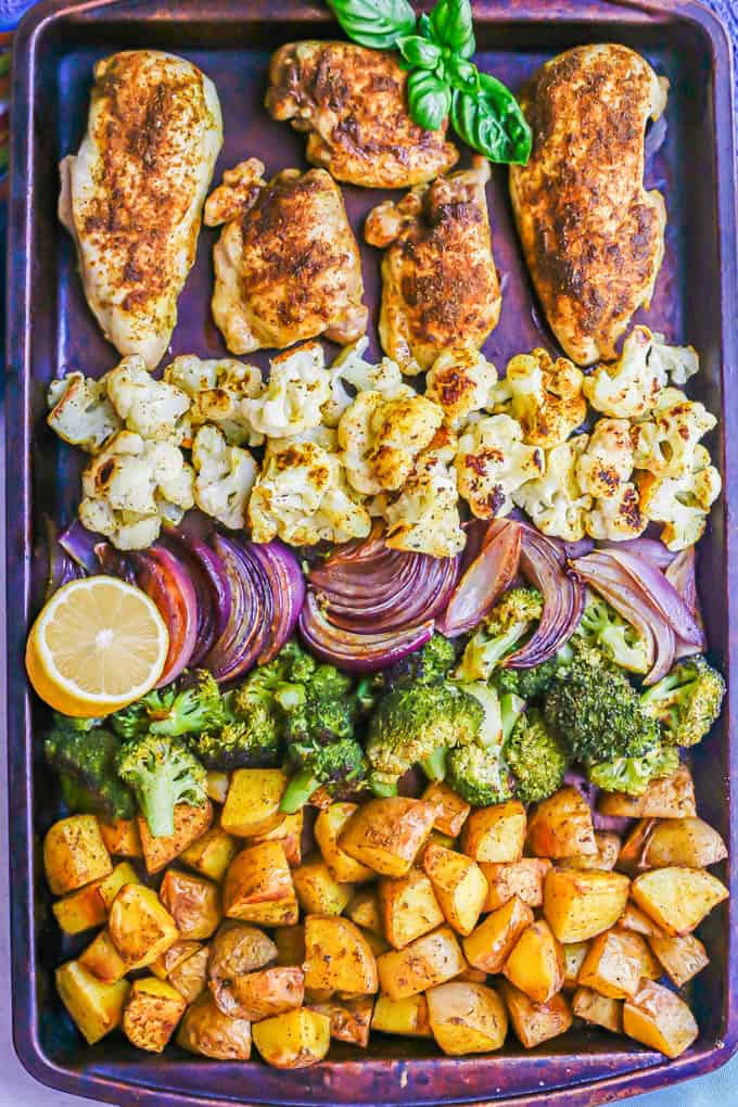 Sheet pan Indian chicken and veggies after roasting in the oven