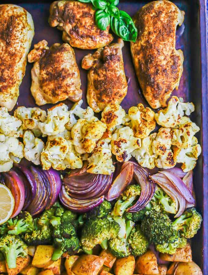 A sheet pan dinner with chicken and veggies after roasting in the oven